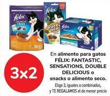 Oferta de En alimento para gatos FÉLIX: FANTASTIC, SENSATION, DOUBLE DELICIOUS o snack o alimento seco por