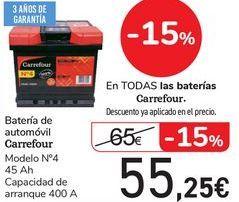 Oferta de Batería de automóvil Carrefour  por 55,25€