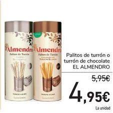 Oferta de Palitos de turrón o turrón de chocolate EL ALMENDRO por 4,95€
