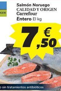 Oferta de Salmón Noruego CALIDAD Y ORIGEN Carrefour Entero por 7,5€