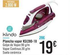 Oferta de Plancha vapor KSI280-18 Klindo por 19€