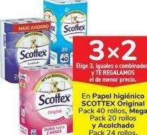 Oferta de En papel higiénico SCOTTEX Original, Mega y Acolchado  por