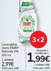Oferta de Lavavajillas mano FAIRY Naturals 0% por 2,99€