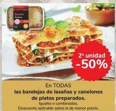 Oferta de En TODAS las bandejas de lasañas y canelones de platos preparados por