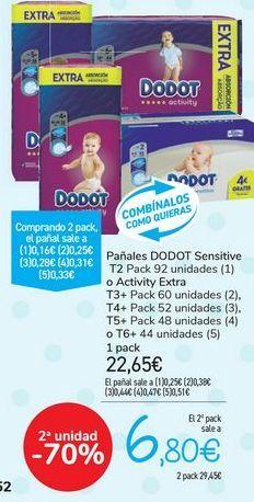 Oferta de Pañales DODOT Sensitive o Activity Extra  por 22,65€