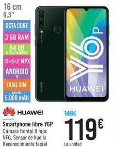 Oferta de Smartphone libre Y6P HUAWEI por 119€