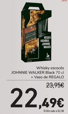 Oferta de Whisky escocés Johnnie Walker Black + Vaso de REGALO  por 22,49€