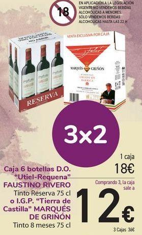 Oferta de Caja 6 botellas D.O. Utile-Requena FAUSTINO RIVERO o I.G.P Tierras  de castillas MARQUÉS DE GRIÑON  por 18€
