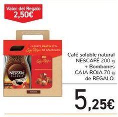Oferta de Café soluble natural NESCAFÉ + Bombones CAJA ROJA de REGALO por 5,25€