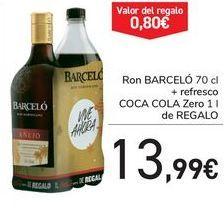 Oferta de Ron BARCELÓ + Refresco COCA COLA Zero de REGALO  por 13,99€