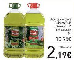 Oferta de Aceite de oliva Clásico 0,4º o Sumum LA MASÍA por 10,95€