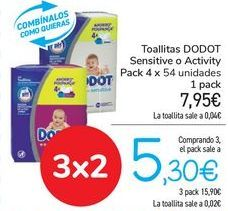 Oferta de Toallitas DODOT Sensitive o Activity  por 7,95€