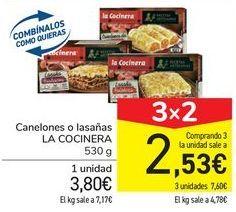 Oferta de Canelones o lasañas LA COCINERA por 3,8€