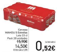Oferta de Cerveza MAHOU 5 Estrellas  por 14,5€