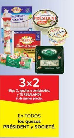 Oferta de En TODOS los quesos PRÉSIDENT y SOCIETÉ por