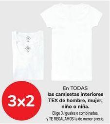 Oferta de En TODAS las camisetas interiores TEX de hombre, mujer, niño o niña  por