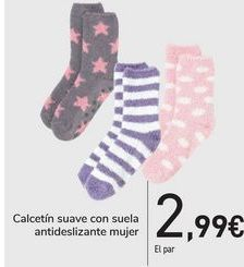 Oferta de Calcetín suave con suela antideslizante mujer  por 2,99€