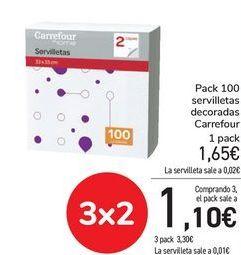 Oferta de Pack 100 servilletas decoradas Carrefour por 1,65€