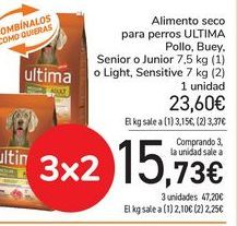 Oferta de Alimento seco para perros ULTIMA, Pollo, Buey, Senior o Junior o Light, Sensitive  por 23,6€