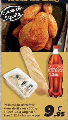 Oferta de Pollo asado Carrefour+ ensaladilla rusa + Coca-Cola Original o Zero + barra de pan por 9,95€