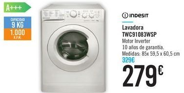 Oferta de Lavadora TWC91083WSP Indesit  por 279€