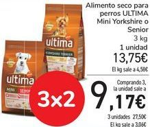 Oferta de Alimento seco para perros ULTIMA Mini Yorkshire o Senior  por 13,75€