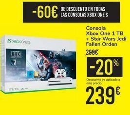 Oferta de Consola Xbox One 1 TB + Star Wars Jedi Fallen Orden  por 239€