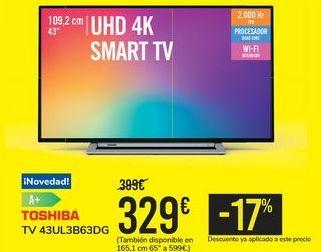 Oferta de TV 43UL3B63DG TOSHIBA por 329€