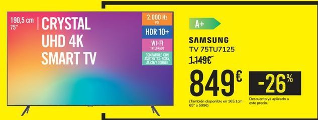 Oferta de TV 75TU7125 SAMSUNG por 849€