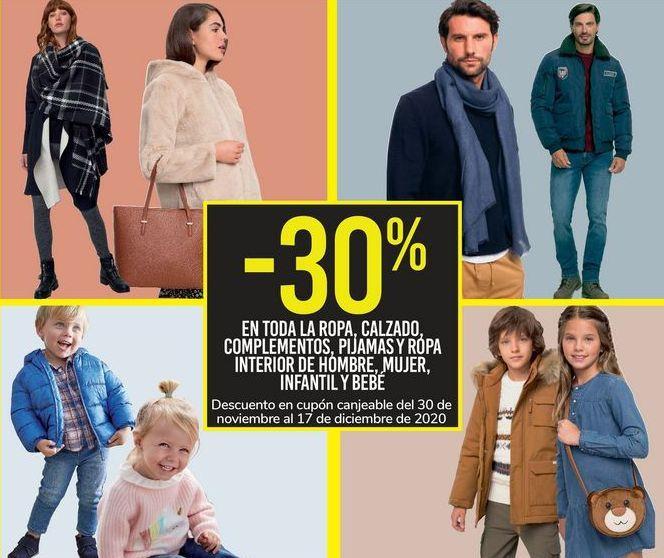 Oferta de En TODA la ropa, calzado, complementos, pijamas y ropa interior de hombre, mujer, infantil y bebé por