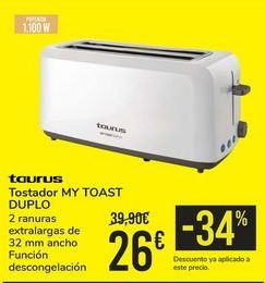 Oferta de Tostador MY TOAST DUPLO TAURUS por 26€