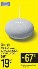 Oferta de Mini altavoz CHALK ROCK o CHALCOAL Google por 19€