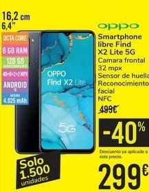 Oferta de Smartphone libre Find X2 Lite 5G por 299€