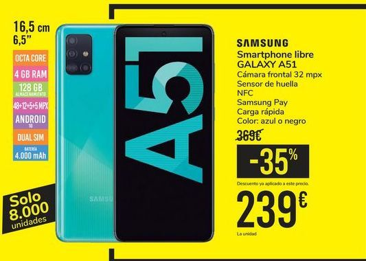 Oferta de Smartphone libre GALAXY A51 SAMSUNG por 239€