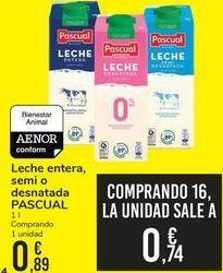 Oferta de Leche entera, semi o desnatada PASCUAL  por 0,89€