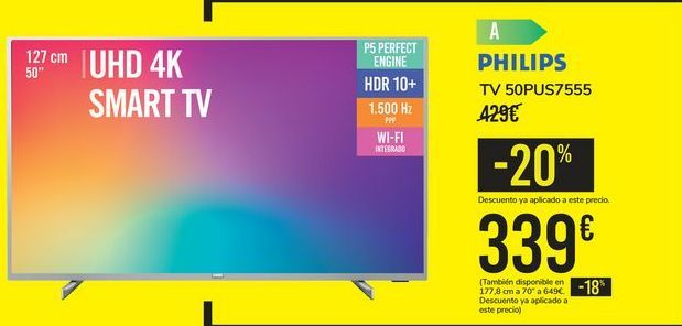 Oferta de TV 50PUS7555 PHILIPS por 339€