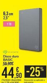 Oferta de Disco duro BASIC SEAGATE por 44,9€