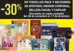 Oferta de En TODOS los pack y neceseres de afeitado, higiene corporal, belleza facial y capilar  por
