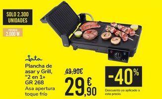 Oferta de Plancha de asar y Grill, 2 en 1 GR 268 JATA por 29,9€