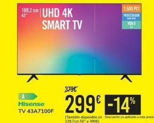 Oferta de TV 43A7100F Hisense por 299€