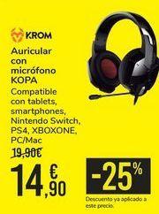 Oferta de Auriculares con micrófono KOPA KROM por 14,9€