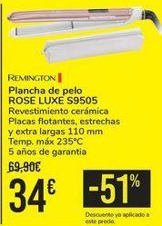 Oferta de Plancha de pelo ROSE LUXE S9505 REMINGTON  por 34€