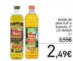 Oferta de Aceite de oliva Clásico 0,4º o Sumum LA MASÍA por 2,49€