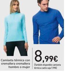 Oferta de Camiseta térmica con cremallera cremaller hombre o mujer por 8,99€