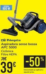 Oferta de Aspirador sin bolsa APC 5000 Orbegozo  por 39€