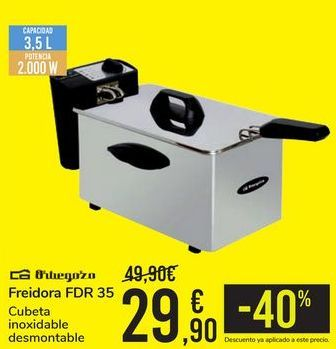 Oferta de Freidora FDR 35 Orbegozo por 29,9€