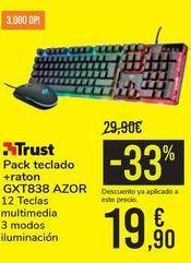 Oferta de Pack teclado + raton GXT838 AZOR Trust por 19,9€
