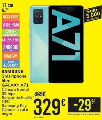 Oferta de Smartphone libre GALAXY A71 SAMSUNG por 329€