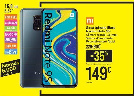 Oferta de Smartphones llibre Redmi Note 9S por 149€