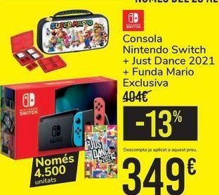 Oferta de Consola Nintendo Switch + Just Dance 2021 + Funda Mario Exclusiva por 349€